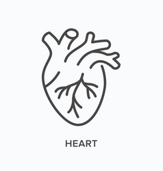 heart flat line icon outline vector image