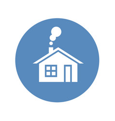 Home icon house with smoke going from chimney vector