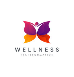 Human butterfly transformation wellness logo vector