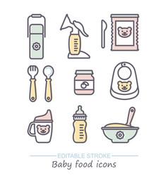 icon set bafood line icons vector image