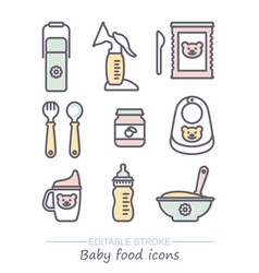 icon set bafood line icons with vector image
