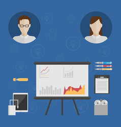 icons of two people consider the business idea vector image