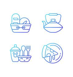 Kitcken dinnerware gradient linear icons set vector