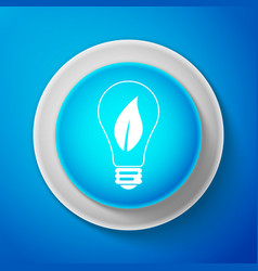 light bulb with leaf icon on blue background vector image