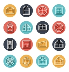 Line window icons vector image