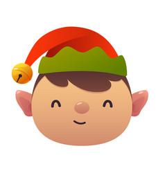 little cute cartoon elf head on white background vector image
