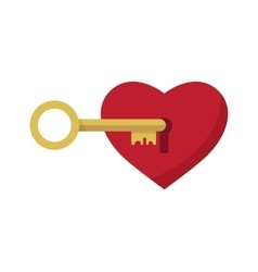 lock with heart shaped key vector image