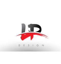 Lp l p brush logo letters with red and black vector