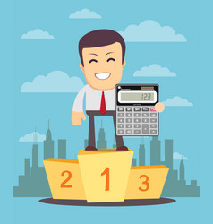 Man stands on a pedestal and showing calculator vector