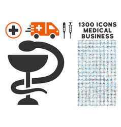 Medicine snake emblem icon with 1300 medical vector