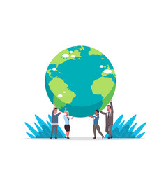 mix race businesspeople holding earth globe go vector image