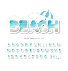 modern seaside landscape font paper cut out abc vector image
