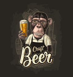 Monkey dressed apron hold beer glass vintage vector