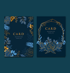 navy blue card with golden leaves wedding vector image