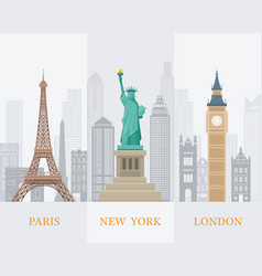 paris new york london landmarks vector image