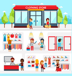 people shopping in the clothing store shop vector image