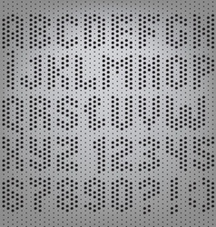 Perforated carbon alphabet letters vector