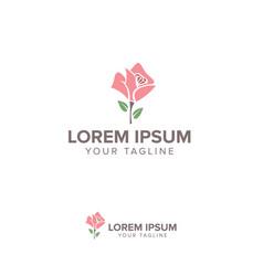 pink flower logo design concept template vector image