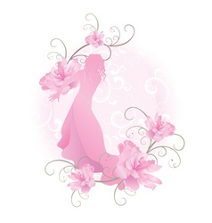 pink vector girl with flowers vector image