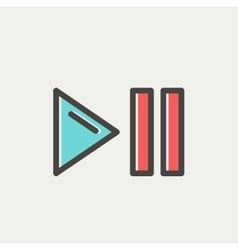 Play pause button thin line icon vector image