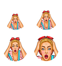 Pop art avatar of shocked surprised blonde vector