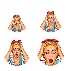 Pop art avatar of shocked surprised blonde vector