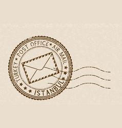 Postal stamp round brown postmark with envelope vector