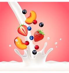 Pouring milk splash with fruits background vector image