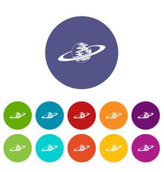 saturn icons set flat vector image