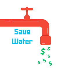 save water with red faucet vector image