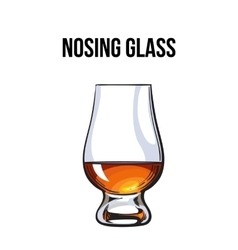 Scotch whiskey rum brandy nosing glass vector image