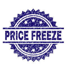 Scratched textured price freeze stamp seal vector
