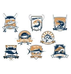 Sea and river fish and rods isolated icons vector