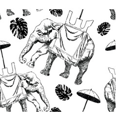 Seamlee black and white pattern with elephant vector