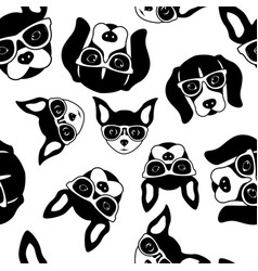 seamless pattern of cute dog faces french vector image