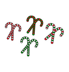 Set different christmas candy canes with red vector