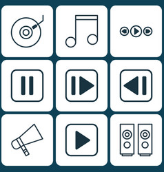 Set of 9 multimedia icons includes gramophone vector