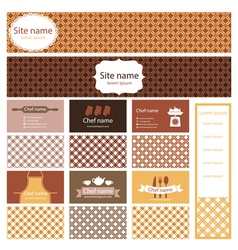 Set of business cards and header website for vector image