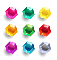 set of cartoon hexagon different color crystals vector image
