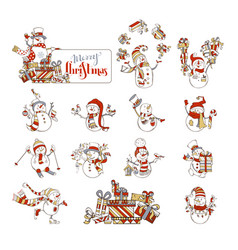 Set of cute cartoon snowmen vector
