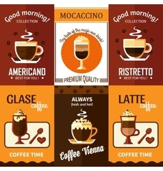 Set of six coffee posters vector