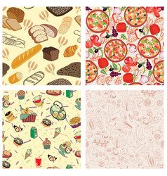 set seamless texture design with meal food and vector image