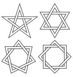 Set stars with interlaced sides knot vector