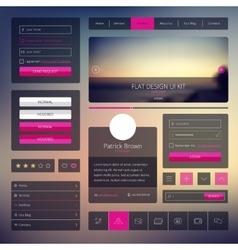 Set web elements in flat style trendy vector