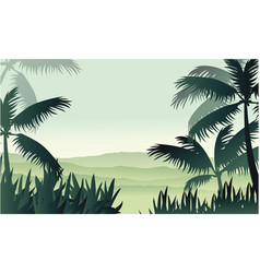 Silhouette of palm on jungle scenery vector