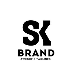 sk letter monogram strong and bold logo vector image