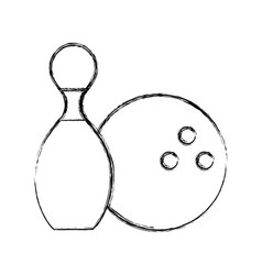 Sketch draw pin and ball cartoon vector