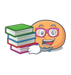 Student with book mochi mascot cartoon style vector