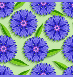 Summer seamless pattern with 3d cornflowers vector