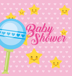toy rattle stars cartoon baby shower card vector image